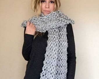 Silver cozy bulky hand knit scarf warm long wide