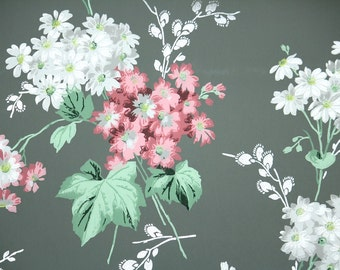 1950s Vintage Wallpaper by the Yard - Pink and White Flowers on Dark Green, Floral Wallpaper
