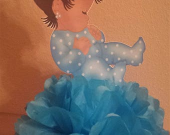 Royal Little Sleeping Princess Turquoise Baby shower or 1st birthday centerpiece Table Decor African American Ethnic baby