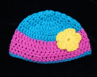 Crochet Baby Hat, Hot Pink and Turquoise Flowered Crochet Hat, Crochet baby Photo Prop, Hat for Baby, Hat with flower, Cute Hat, Baby hat