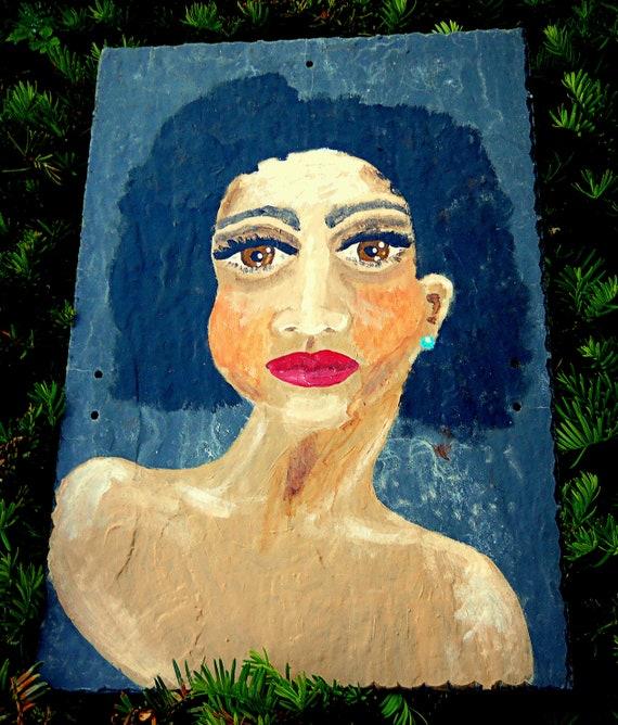 Hand Painted Portrait on Slate, CLAUDINE, By Award Winning Folk Artist Stacey Torres - women art acrylic slate shingle ethnic women in art