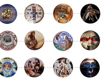 "Native American 1"" Inch Bottle Cap Images Digital Download - 12 images for a 4 x 6 Sheet Size Native American Culture"