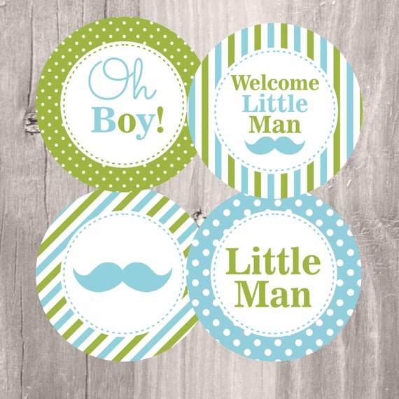 Baby Shower Centerpieces, Printable Little Man Mustache Party Circles, Blue  And Green, Instant Download, Baby Shower Decoration From IsiDesigns On Etsy  ...