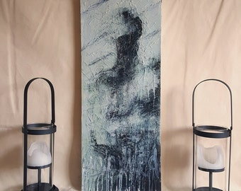 Dark Art Canvas Painting. 'Uninvited' Highly Textured Striking Abstract Portrait. Disturbing, Moody Artwork. Original Modern wall Art.