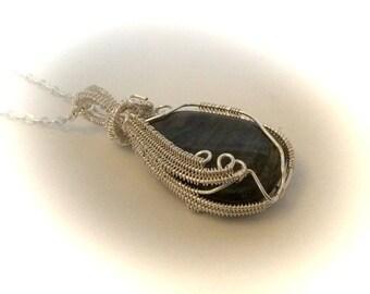 Labradorite  Pendant Wire Wrapped Gemstone Jewelry  Crystal Healing