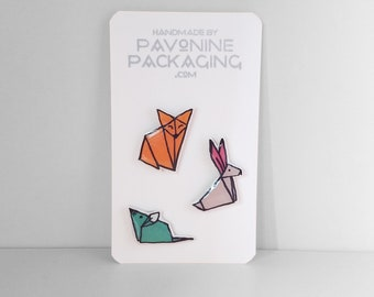 Pin Set - Cute Animal Origami Lapel Pins Handmade