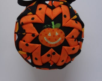 Quilted Fabric Ornament Halloween Jack o' Lantern Pumpkin Fall Candy Corn