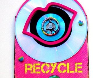 PEACE LOVE RECYCLE Metal 3D Wall Art Repurpose Materials Vintage Rare Pink Vinyl Record Mirror Laser Disc Environmental Earth Indoor Outdoor