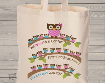 Teacher gift tote bag - school hoot owl teacher gift personalized tote bag - adorable teacher tote gift MSCL-035-B