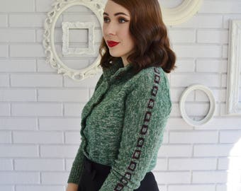 Vintage 1970s Green Turtleneck Cardigan with Sleeve Detail by Bargello Size XXS or XS