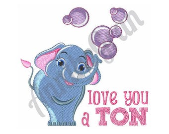 Elephant With Bubbles - Machine Embroidery Design, Love You A Ton