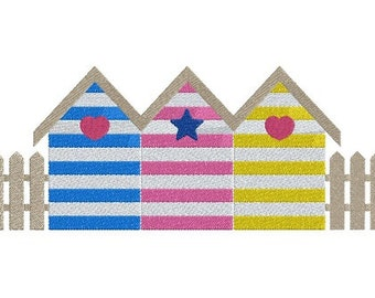 Beach Cabins and fences machine embroidery design