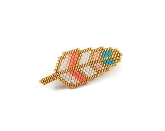 Broche plume en perles Miyuki - corail et turquoise