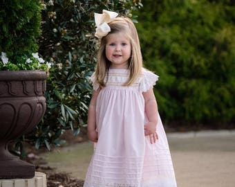 Heirloom Style Blush Dress with  Pintucks Lace Detail Swiss Embroidered Ruffle and Silk Satin Ribbon