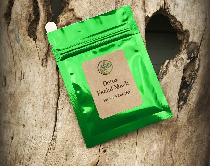 Detoxifying face mask - black face mask - single use facial mask - face mask black - organic skincare - touch of herbs - herbal shops - clay