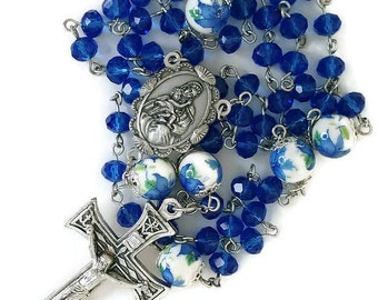 Captivating Cobalt Blue Crystal Rosary