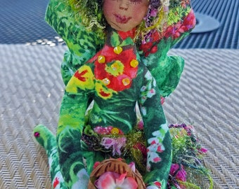 OOAK, Whimsical, colorful fiber sculpted tropical flower fairy, Swarovski crystal accents