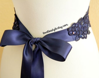 Navy Beaded Flower Lace Sash  / Bridal Wide Sash, Bridesmaid Navy Sash/ SH-15