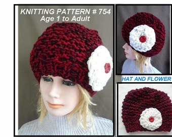 RED HAT Knitting Pattern - Knit Flower Pattern - Age 1 to Adult - Beginner level - One hour project - #754