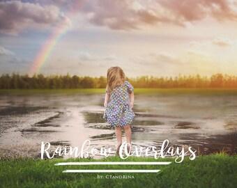 Rainbow Overlays, Magical Overlays, Spring Overlays, Sky Overlays, Digital Rainbows for Photoshop - Set of 10
