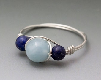 Aquamarine & Lapis Lazuli Sterling Silver Wire Wrapped Bead Ring - Made to Order, Ships Fast!