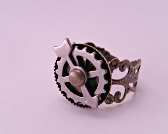 Steampunk Industrial Brass Filigree Adjustable Watch Part Spinner Ring