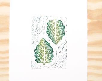 "Woodblock Print - ""White Poplar"" Leaf Print - Fall Autumn Leaves - Green Leaves"