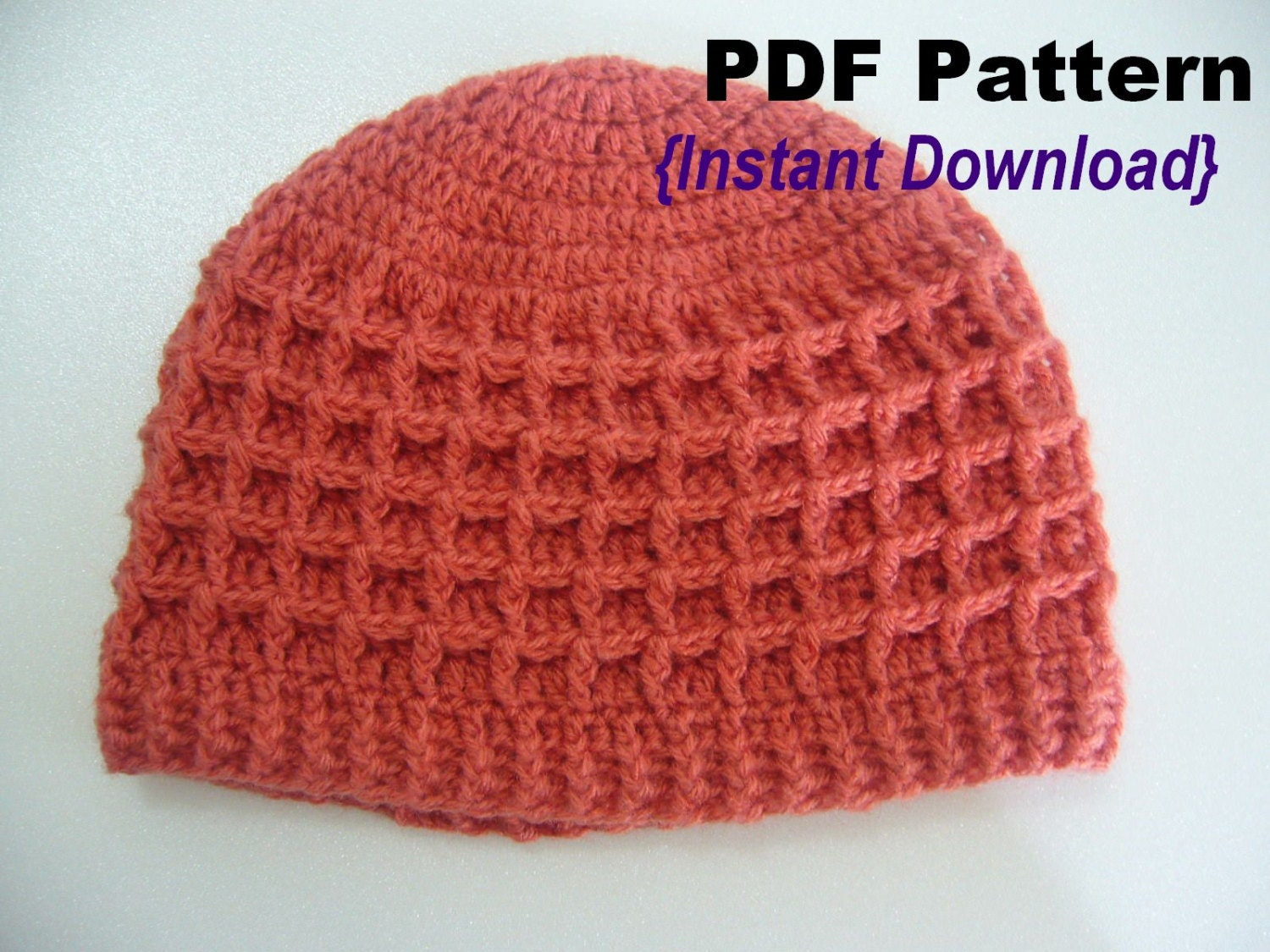 Crochet Hat Pattern Crochet Waffle stitch hat with ribbed