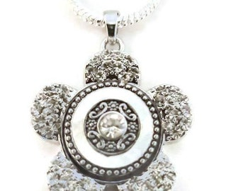 Mi long necklace rhinestones black and white turtle