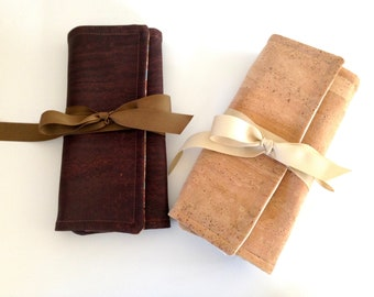 Cork Vegan Leather Jewelry Roll Travel Accessory Bridesmaid Gift Natural Brown Fabric Interior Monogram Available
