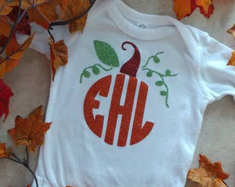 Monogram Pumpkin/ Halloween/ Thanksgiving/ Fall/ Pumpkin/ Vinyl Onesie/ Baby Creeper/ Personalized/ Decorated/ Baby Girl/ Baby Boy