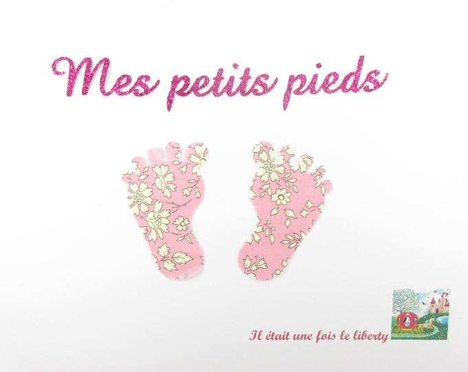 Applied pink Capel liberty fabric baby feet fusing flex glitter patch iron birth it's a girl maternity pattern