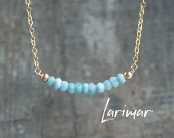 Larimar Necklace, Gemstone Bar Necklace, Healing Crystal Necklace, Gift for Mum, Gift for Friend, Dainty Larimar Jewelry, Gemstone Jewelry