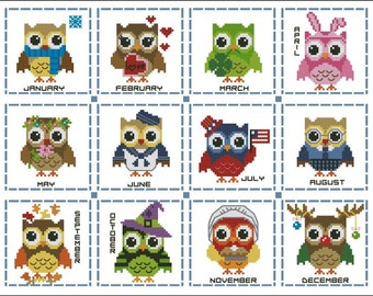 Hooties Year Round Minis #1 Collection Cross Stitch PDF Chart