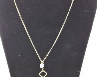 Single Chain Necklace, Fresh Water Pearl, Faceted Honey Glass