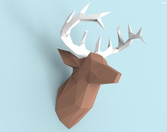 Deer Head Papercraft PDF Pack - 3D Paper Sculpture Template with Instructions - DIY Wall Decoration - Animal Trophy