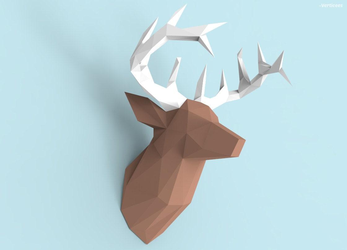 deer head papercraft pdf pack 3d paper sculpture template. Black Bedroom Furniture Sets. Home Design Ideas
