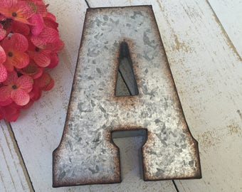 Metal Letter-Galvanized Letter-Ampersand-home-wall decor-Personalized Letter-Tin Letter-Loft Decor-industrial Decor-Dorm Decor-Wall Letter