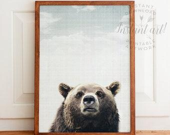 Woodland Animals nursery PRINTABLE art,bear print,bear wall art,nursery wall art,nursery decor,printable decor,nature printable,INSTANT
