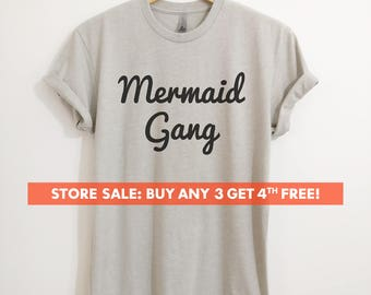 Mermaid Gang T-Shirt, Ladies Beach T-shirt, Cute Beach Shirt, Mermaid Girl T-shirt, Short & Long Sleeve T-shirt