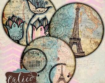 2 Inch Circles, Printable, Travelin' Through, Digital, Collage Sheet, Traveling Images, Travel Printable, Circle Labels, Printable Labals
