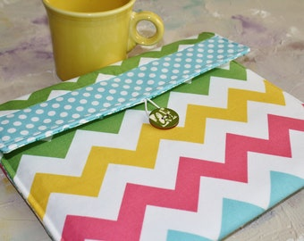 Kindle Cover Padded, Kindle Case, Nook Cover , Ereader Case, Custom Sleeve in Multi Chevron and Dots