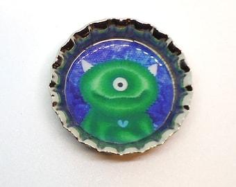 Cute Monster Magnet, Bottle Cap, Fuzzy, Horns, Green, Blue, Purple, Cyclops, One Eyed, Butterfly, Butterflies,