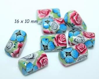 Polymer clay tube beads *Blue Poppies* / Sold by pair