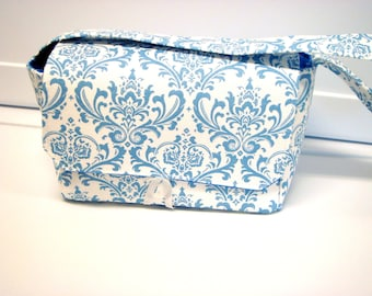 """10% OFF Large 4"""" Size Coupon Organizer Holder - Attaches to Your Cart- Blue And White Damask"""