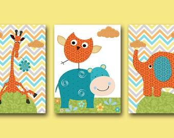 Orange and Green Elephant Nursery Giraffe Nursery Baby Room Decor Baby Nursery Decor Baby Boy Nursery Kids Wall Art Kids Art set of 3