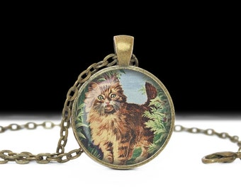 Cat Necklace Cat Jewelry Necklace Wearable Art Pendant Charm Cat Pendant Cat Photo Pendant