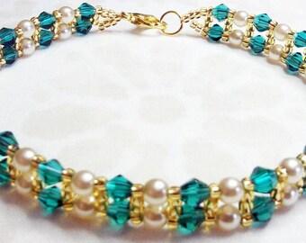 "Teal, Ivory and Gold - skinny bracelet - 8-1/2"""
