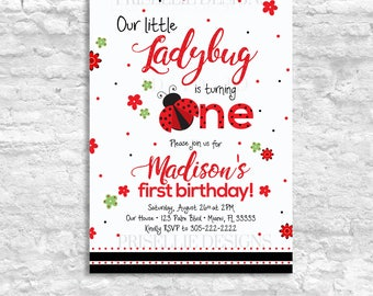 Ladybug Birthday Invitation, Ladybug First Birthday Invitation, Ladybug Second Birthday Invitation, Ladybug 1st 2nd Birthday Invitation