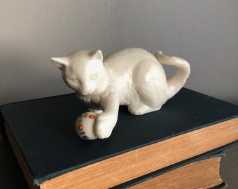 vintage Lenox white cat playing with jeweled ball collectible